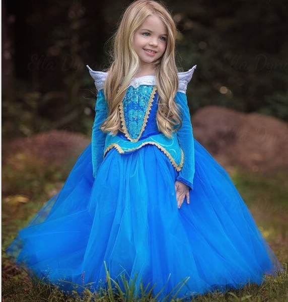 Children princess aurora Blue dress Elsa Dress girl party dress Cosplay Costume Baby Vestido Infantis evening formal dress