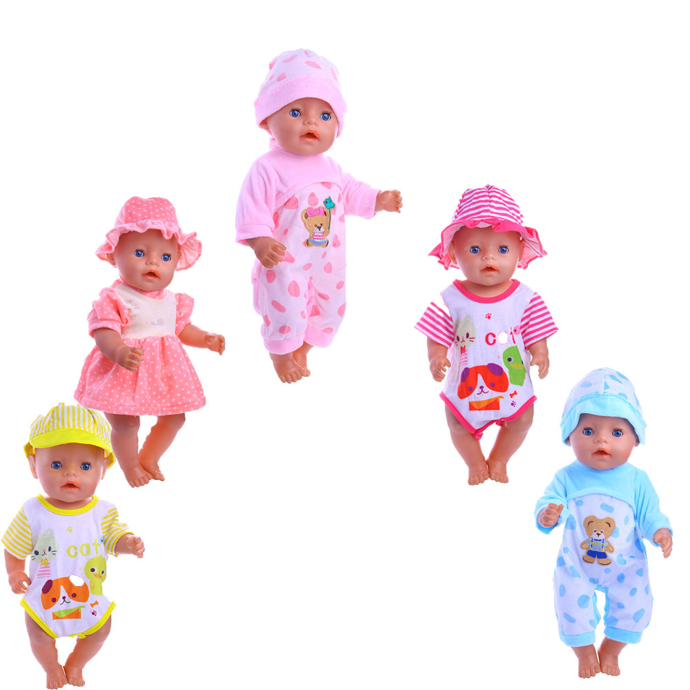 5styles 2017 new Reborn Doll Clothes fit 43cm Baby Born zapf for American Girl Doll Children best Birthday Gift zebra pattern doll clothes wear fit 43cm baby born zapf doll children best birthday gift