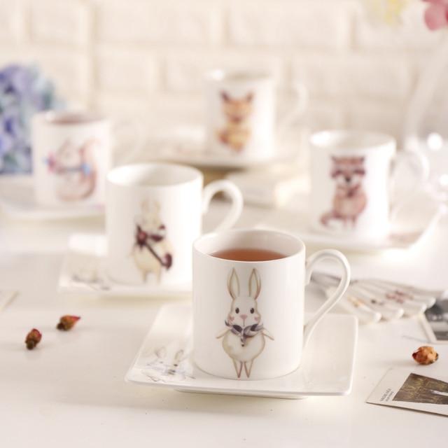 Bone USA Cafe Cup Dish Fairy Tales Kawaii Cartoon Kit Ceramics Coffee Milk Tea Mug Tray Spoon Set Tumbler Square Plate