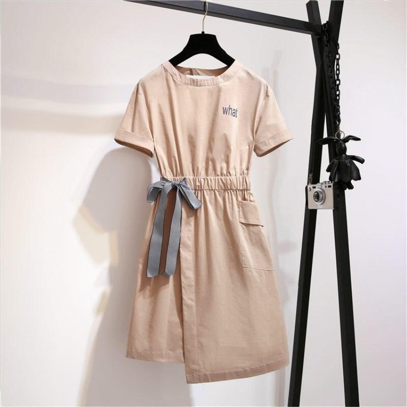 Plus size irregular dress female fat mm new fat sister backless dress foreign cotton and linen bow women summer dress sundress