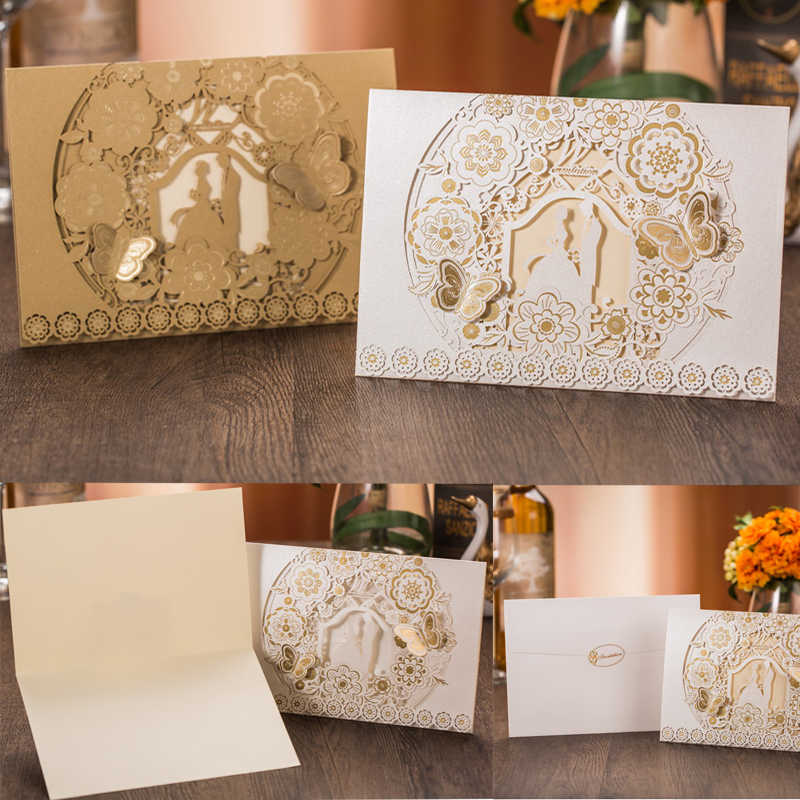 1pcs Gold White Laser Cut Bride & Groom Wedding Invitation Card Marriage Greeting Card Envelopes Wedding Party Favor Decoration