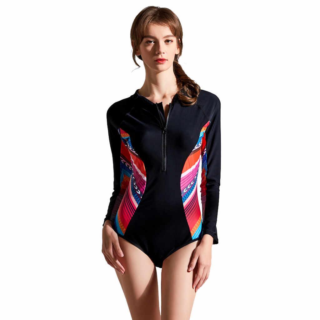Sagace Satu Potong Baju Renang Ruam Penjaga untuk Wanita Lengan Panjang Baju Renang Patchwork Baju Renang Hitam Pakaian K Berlaku Zip