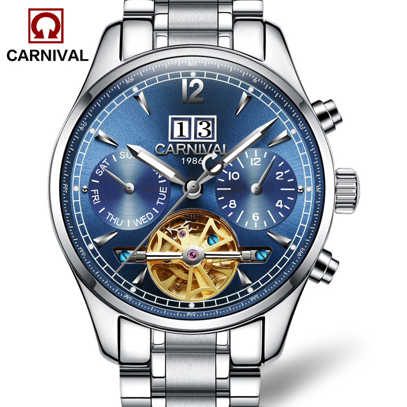 Luxury Carnival watch men tourbillon stainless steel waterproof Automatic machine date white dial wristwatch relogio feminine