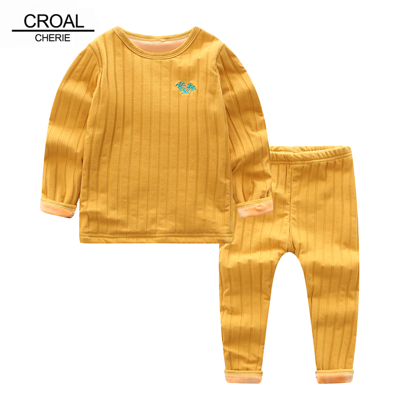 CROAL CHERIE 90-130cm Winter Warm Cotton Fleece Tops + Pants Children's Sets Casual Kids Girls Boys Clothing Sets