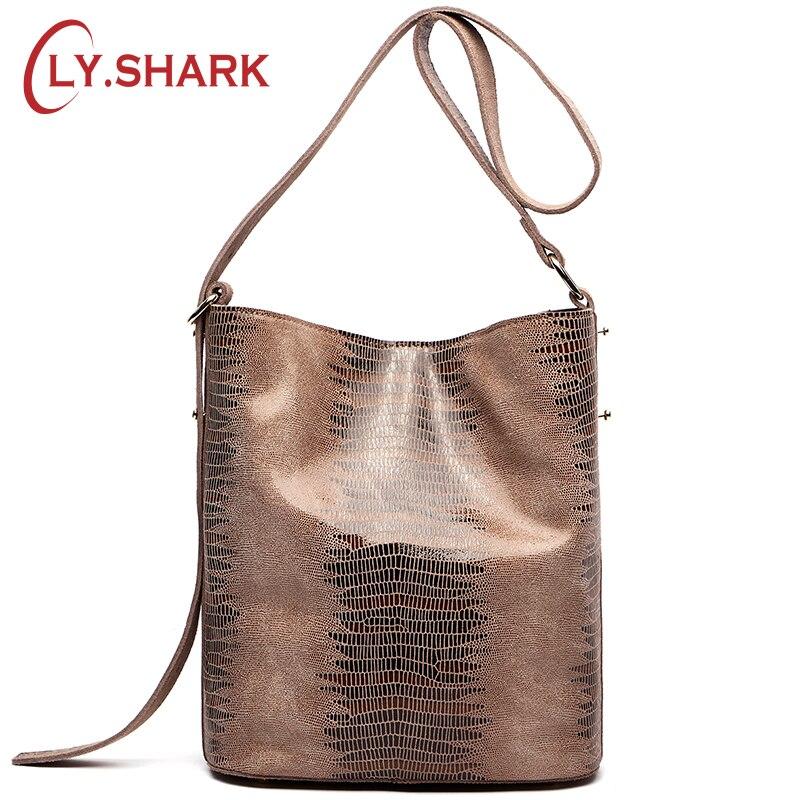 LY SHARK Brand Serpentine Pattern Leather 2019 Women Handbags Women Genuine Leather Bag Female Shoulder Women