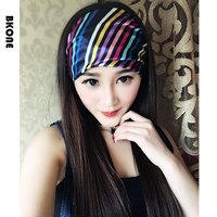 Original Design Rainbow Headbands Women Wide Satin Bandana Headwear Elastic Turban Hairband Knot Beach Headwrap