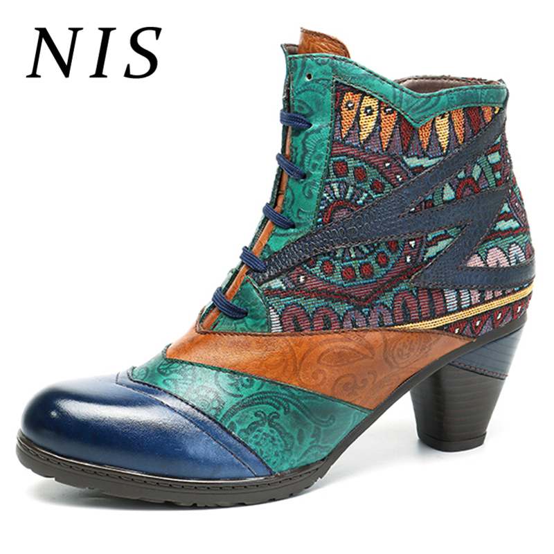 NIS Bohemian Ankle Winter Boots Women Shoes Vintage Genuine Leather Shoes Woman Zipper Lace up Block
