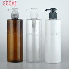 30 шт./лот) 250 мл пустая белая/прозрачная/коричневая спиральная бутылка с дозатором для эмульсий 250cc для ванны пена винтовой насос бутылка, Упаковочная бутылка