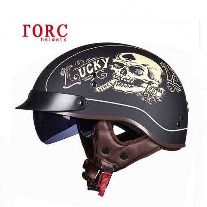 DOT safety certification TORC retro locomotive helmets Man half-face motorcycle prince helmet ABS Electric Bicycle Half Helmets