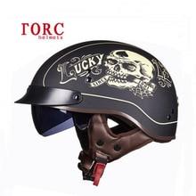 Certificação de segurança DOT capacetes TORC retro locomotiva Homem meia-face capacete ABS Capacetes de Bicicleta Elétrica Metade da motocicleta do príncipe
