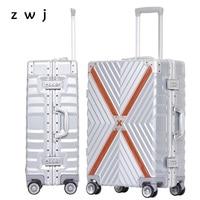 New Aluminum frame trolley travel luggage hard side cabine luggage men suitcase
