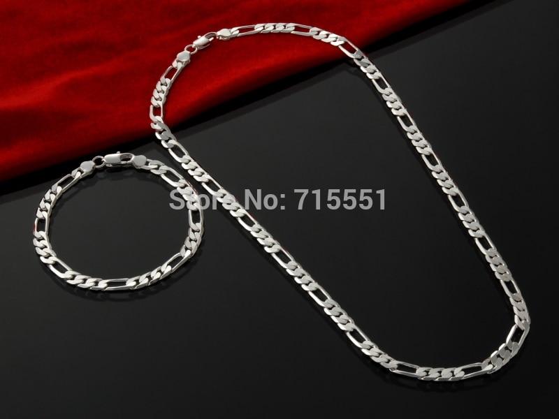 Komplete zinxhirësh për burra 4MM, bizhuteri të modës, gjerdan argjendi prej argjendi prej argjendi, byzylyk Vetë për burra