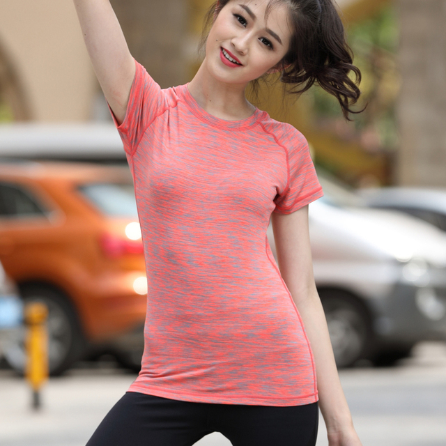 Lijalai yoga shirt women's t-shirts for fitness Short sleeve breathable quick dry clothing tight fitting sports top running tank