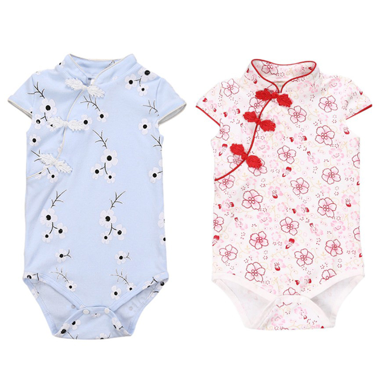 Chinese Style Cheongsam Baby Jumper Girl Summer Clothing Flower Printing Tights Triangle Rompers Clothes