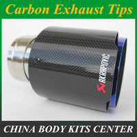 car styling Glossy blue Akrapovic exhaust car car styling pipe muffler tip carbon fiber Sfor BMW for Volkswagen for Benz (1PCS)