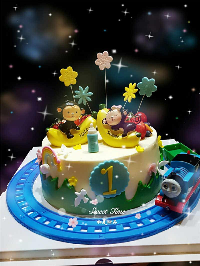 Astounding Banana Monkey Cupcake Toppers Toys For Baby Kids Children Birthday Funny Birthday Cards Online Eattedamsfinfo