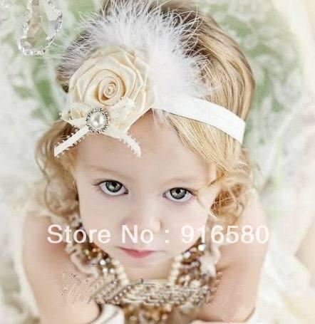 Free Shipping Hot !!! Wholesale Fashion Rhinestone Rosette Baby Headband Flower Headbands For Girls