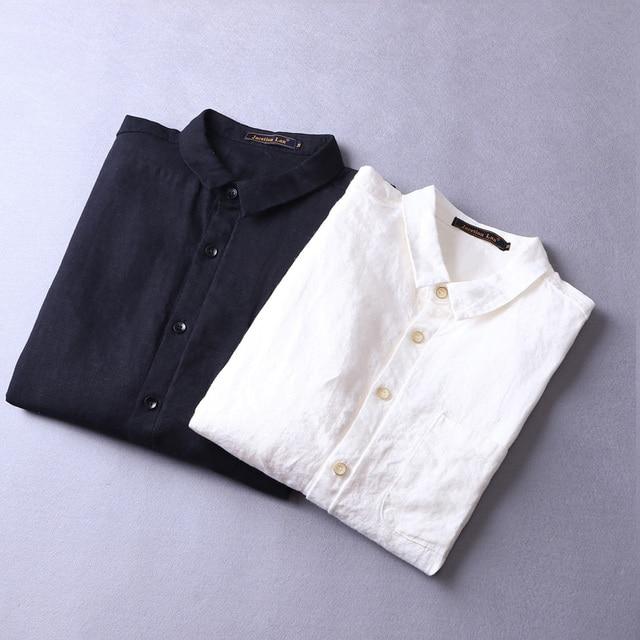 0613c5985273c79 2018 Новые однотонные льняные рубашки мужские Длинные рукава рубашка мужская  мода 100% лен Весна рубашка
