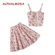 ALPHALMODA New Arrived Single Breasted Floral Tank Top + Mini Skirt Women 2pcs S