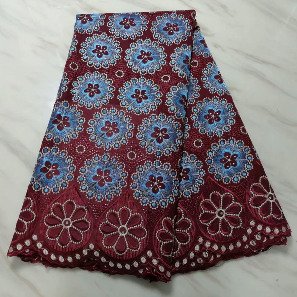 Image 4 - swiss hole lace cotton fabric flowers embroidered with stones,5  yards high quality nigerian material tissu africain brode cotonFabric