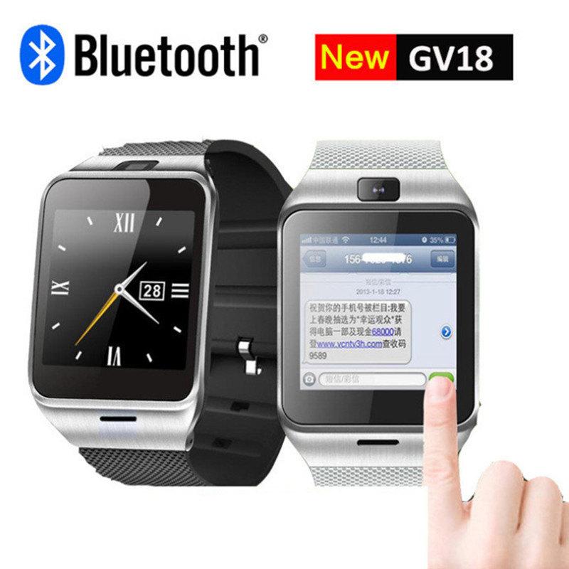 Prix pour Smart Watch GV18 avec Caméra Sync Notifiant Soutien Sim Carte Bluetooth Connectivité Iphone Android Téléphone Smartwatch DigitalWatch