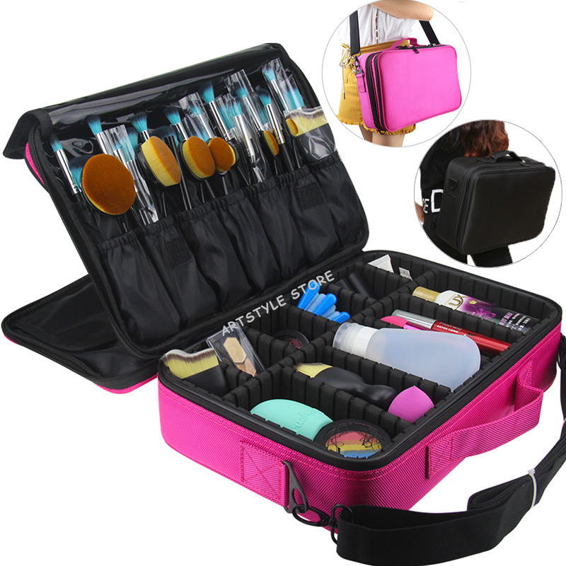 Female High Quality Professional Storage Bag Bolso Mujer Cosmetic Case Large Capacity Makeup Organizer Free Disassembly