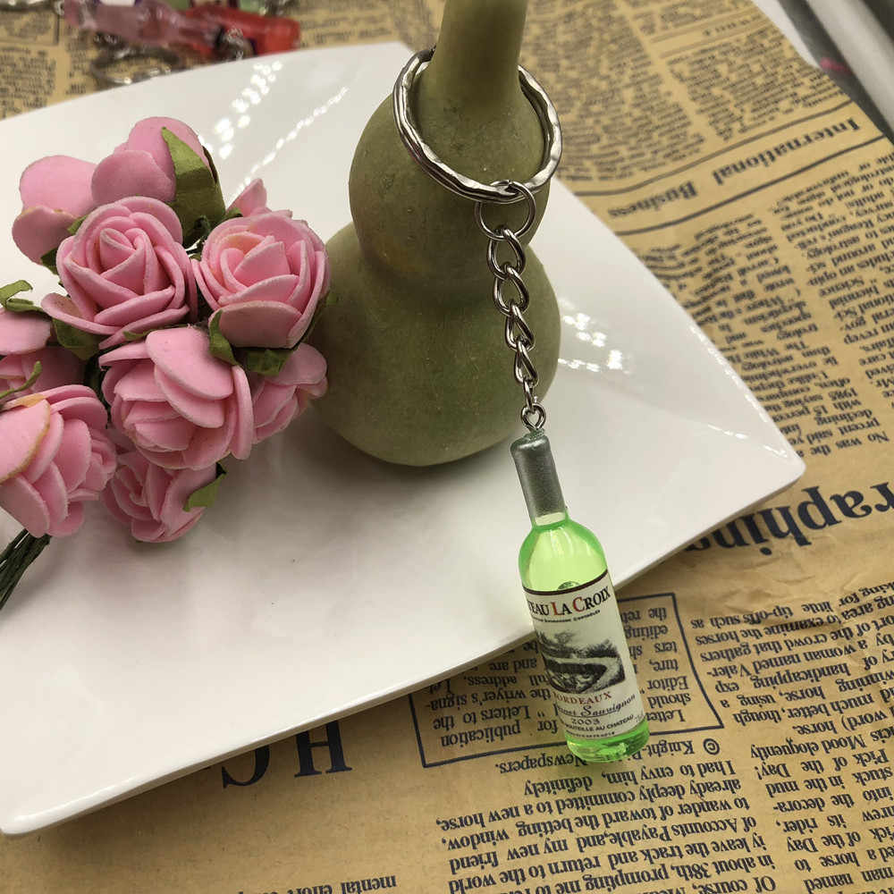 Thời trang New Phụ Nữ/Người Đàn Ông của Thời Trang Handmade Resin Rượu Vang Chai Dây Đeo Chìa Khóa quyến rũ Vòng Chìa Khóa Hợp Kim Charms Quà Tặng Bán Buôn