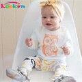 Keelorn новые Поступления девочка одежда установить футболка с Длинным рукавом + брюки сова pattern детская одежда установить новорожденного костюм bebes