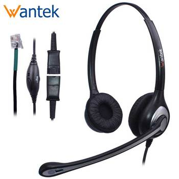 Wantek Corded Telephone Headset Dual With Noise Cancelling Mic Quick Disconnect Phones Headsets Landline Deskphones A602fqs1 Telephone Headsets