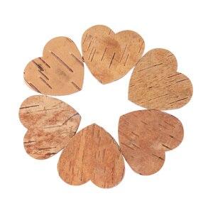 Image 5 - 160pcs ליבנה לנבוח לב בצורת עץ שבבי עץ כפרי קישוטי שולחן דקו חתונה תינוק מקלחת יום הולדת ספר אורחים סימן