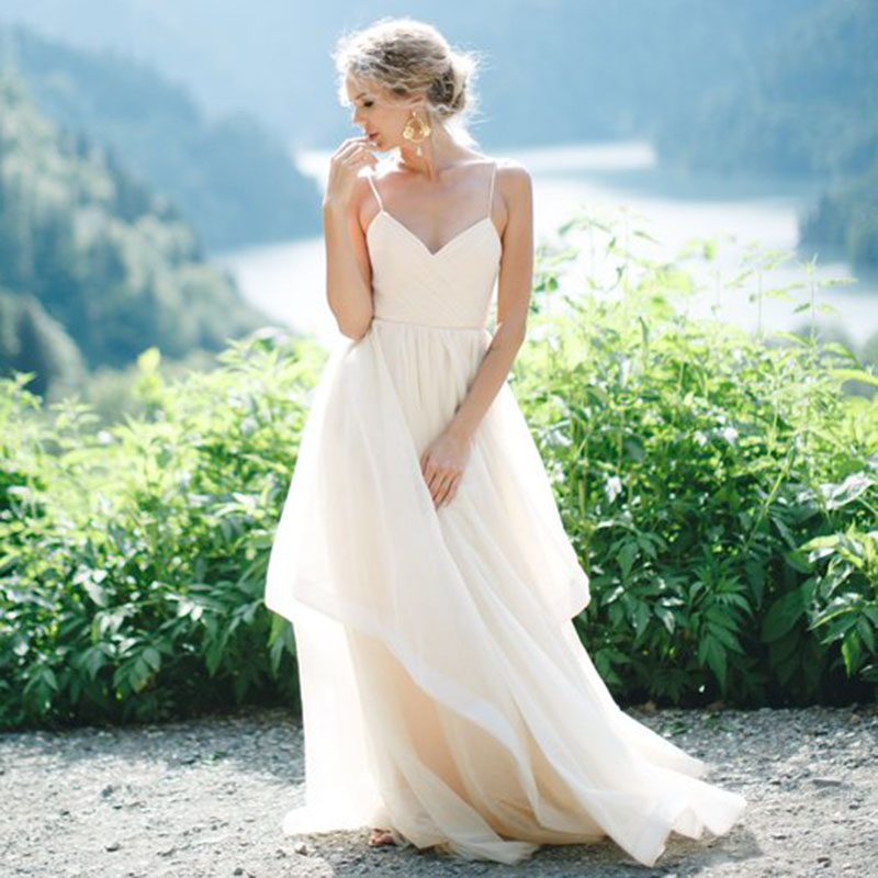 LORIE Beach Wedding Dresses Spaghetti Strap Pleats Top A Line Tulle Backless Princess Long Wedding Gown Boho Bride Dress 2019