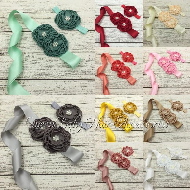 1set/lot Satin Poppy Flower Sash Macthing Headband Luxe Sash Belt Per Set Flower Baby Girl Sash Belt Kidocheese
