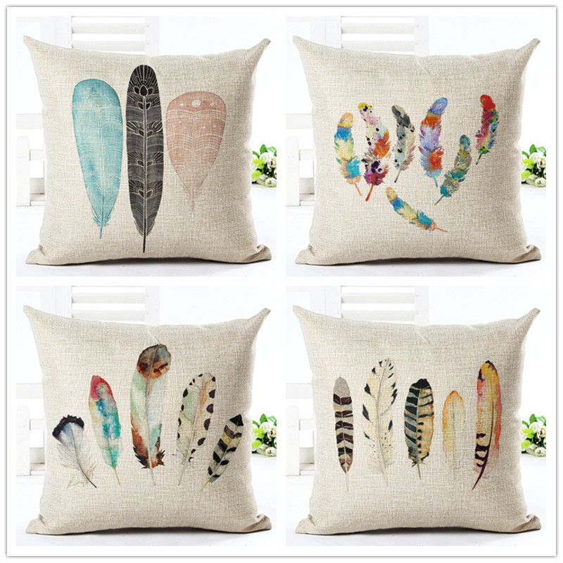 decorative pillows nordic style lucky feather pillow cover waist pillowcase home office coffee supplies cushion cover