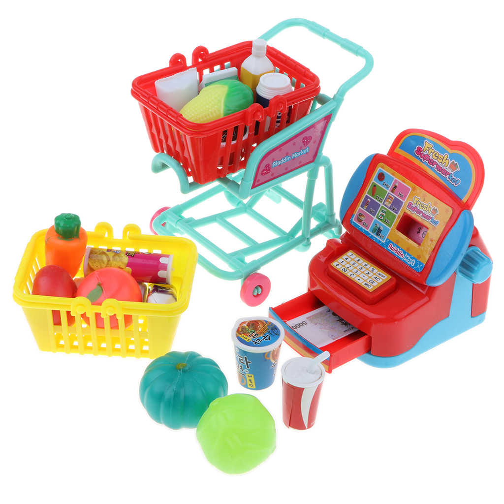 Simulation Supermarket Cash Register with Shopping Cart Playset Kids Children's Pretend Play Toy Birthday Gift