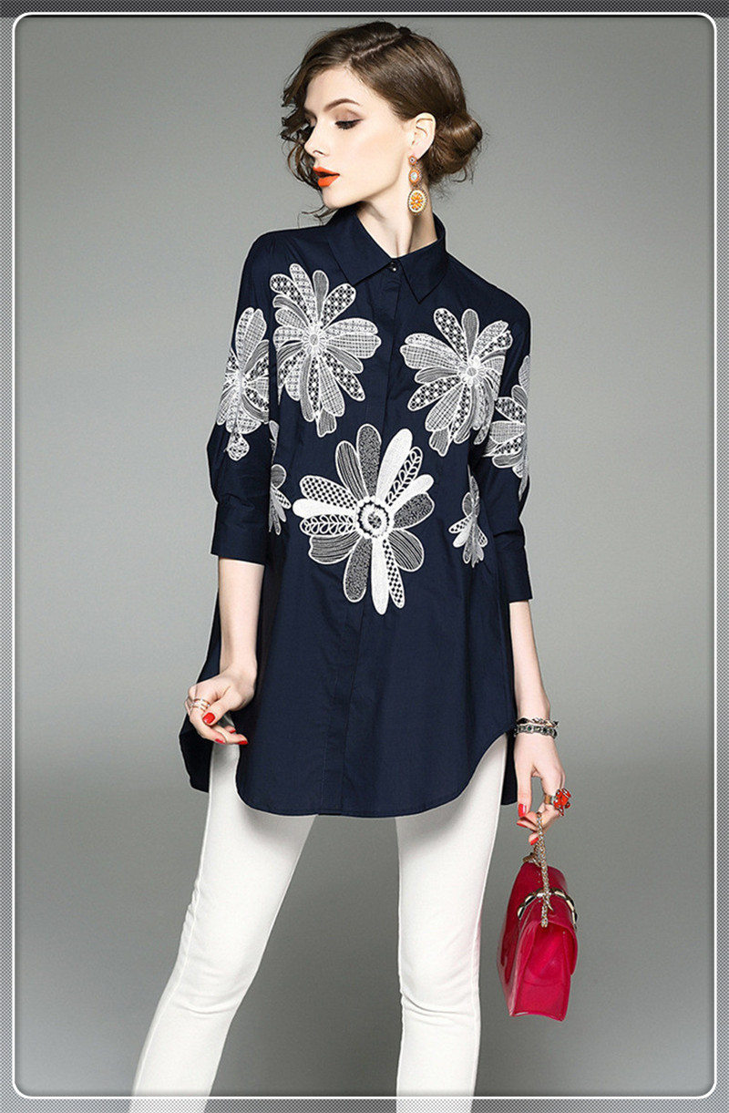 Spring new European and American women embroidered embroidery lapel font b 7 b font points sleeve 7 diamonds shirts promotion shop for promotional 7 diamonds shirts,7 Diamonds Womens Clothing