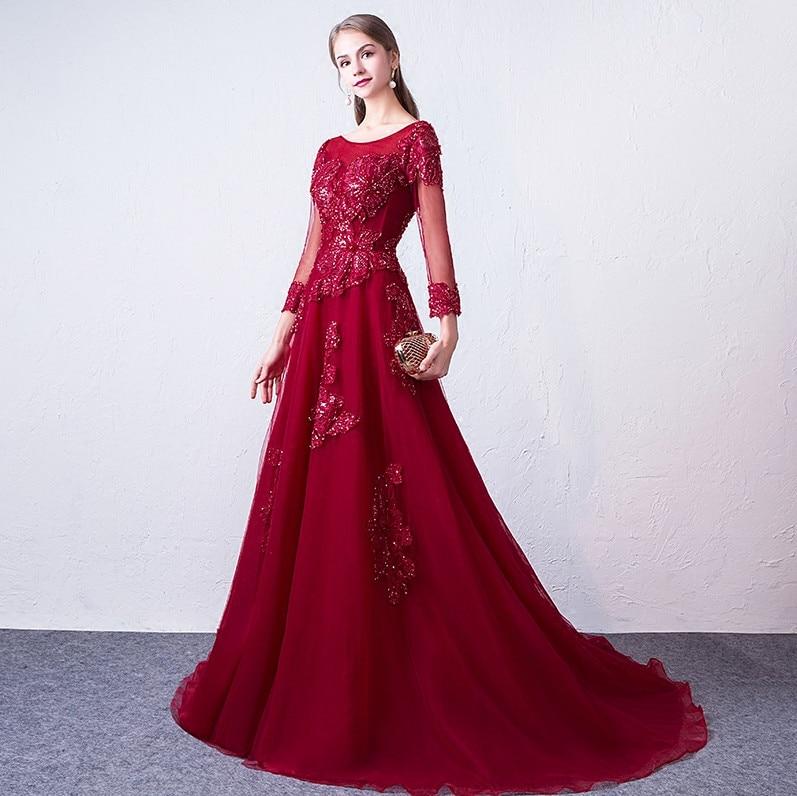 Abendkleider 2018 Գինու կարմիր երեկոյան զգեստ - Հատուկ առիթի զգեստներ - Լուսանկար 3