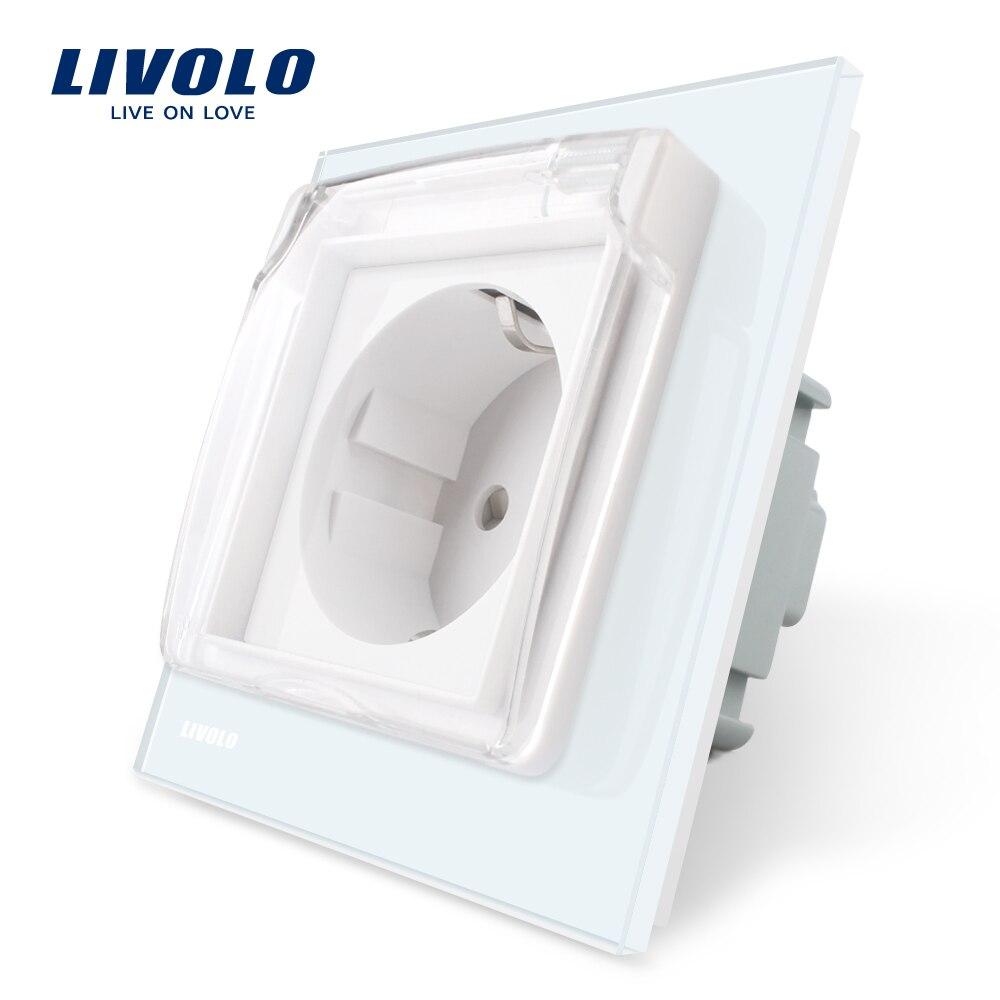 Livolo UE estándar del zócalo de energía, Panel de cristal blanco, AC 110 ~ 250 V 16A pared con la cubierta impermeable C7C1EUWF-11