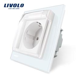 Livolo EU Standard Power Socket, White Glass Panel, AC 110~250V 16A Wall Power Socket with Waterproof Cover C7C1EUWF-11