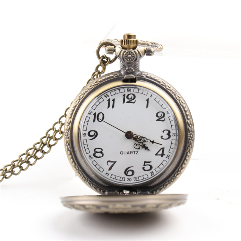 Alice In Wonderland Theme Bronze Quartz Pocket Watches Hot Sell Vintage Fob Watches Time In The Pocket Christmas Brithday Gift