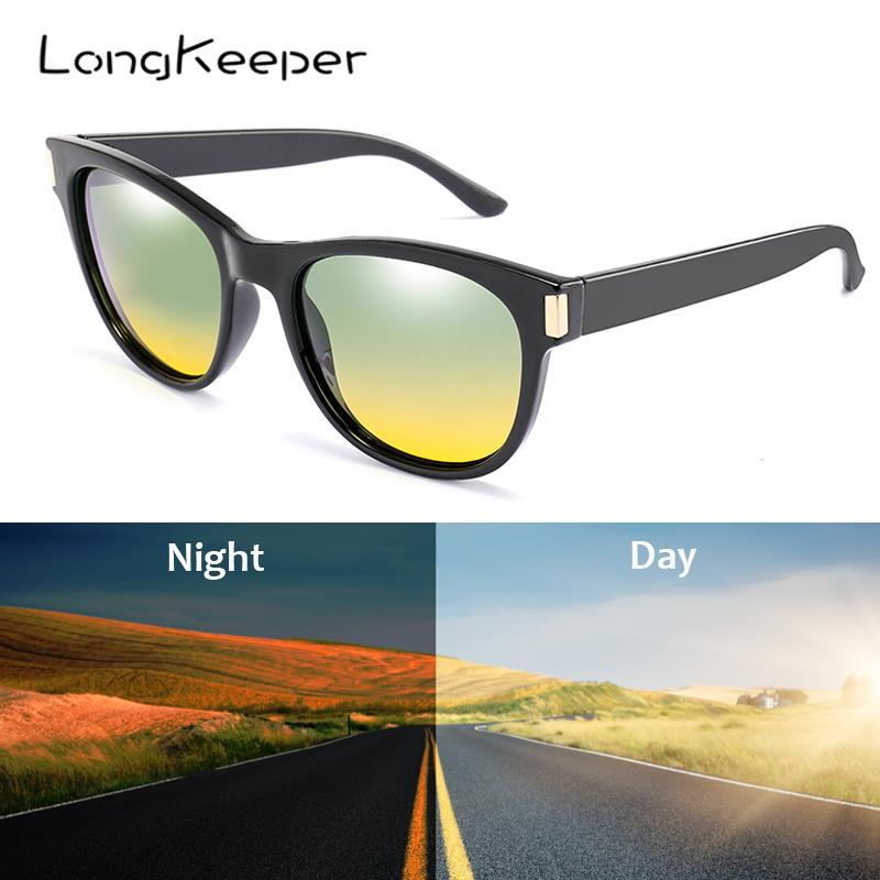 LongKeeper Cat Eye Day Night Vision Sunglasses Men Polarized Driving Sun Glasses Women Reduce Glare Eyewear UV400 Gafas de sol