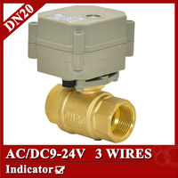Brass BSP NPT 3 4 Motorised Ball Valve 9 24VAC DC 3 Wires For Water Heating
