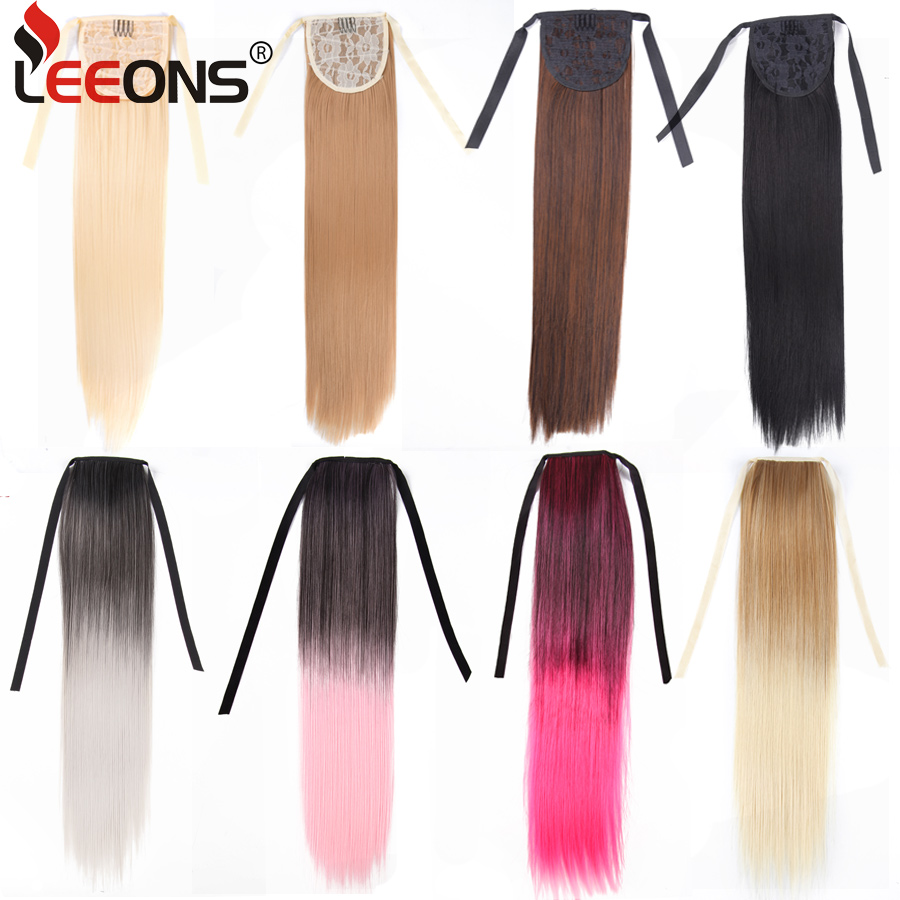 Leeons 20'' Synthetic Ponytail Hair pieces Heat Resistant Fiber Straight Ribbon Clip In Hair Extension 21 colors Brown Black