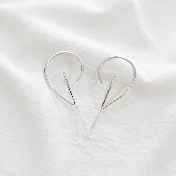 05879cc27dc2c 100% 925 sterling silver geometric line earrings for women pendientes  mujer, new minimalist earring studs aretes silver jewelry