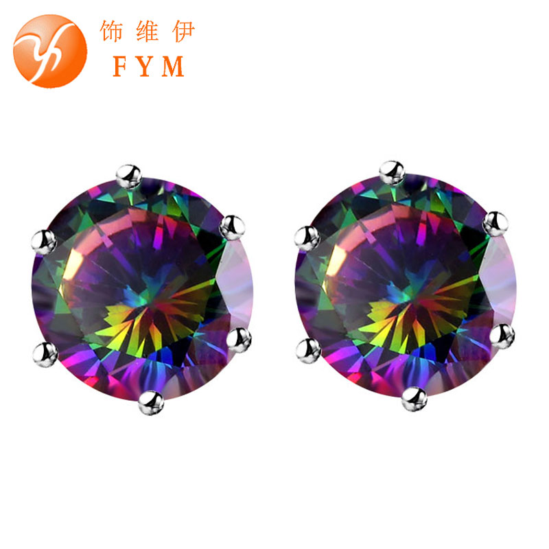 FYM 8/10/12mm Fashion Multicolor Lady Silver color CZ Zirconia Stud Earrings Jew