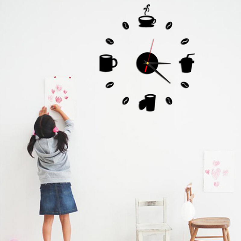 kopi piala kitchen wall art jam dinding cermin jam desain modern 3d
