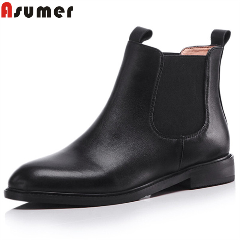 ASUMER big size 34-43 fashion autumn winter boots women round toe ankle boots ladies genuine leather boots 2018 new shoes woman hxrzyz women chelsea boots spring autumn ankle boots woman hot new fashion of genuine leather round toe suede women winter shoes