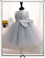 赤ちゃんの女の子ページェントフォーマルドレス2017スパンコールちょう結びかわいい幼児の女の子プリンセスチュチュドレス子供誕生日結婚式パーティードレ