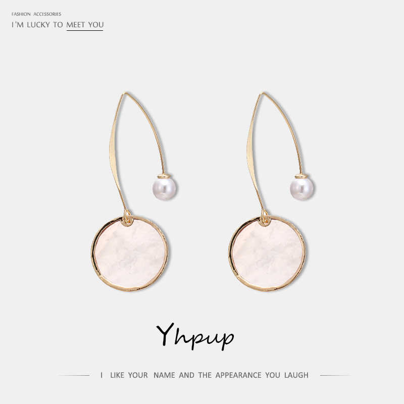 Yhpup Fashion Minimalist Natural Shell Geometric Dangle Earrings Long Copper Pins Imitation Pearls Jewelry for Women Gift 2019