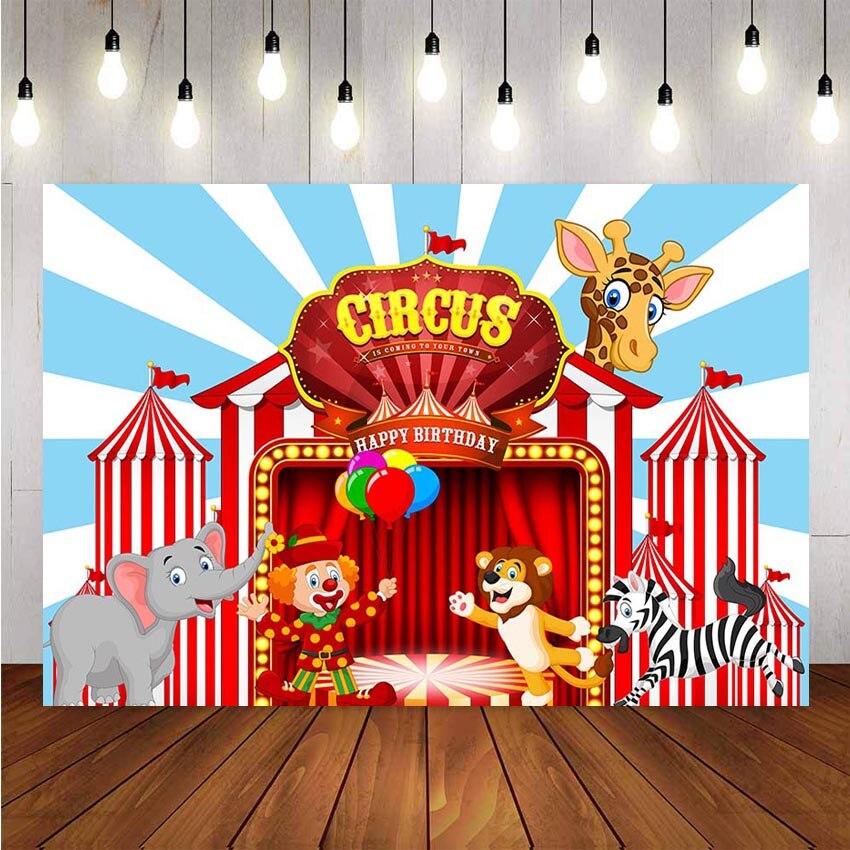 Фон для фотосъемки цирковая фиеста тема слон жираф лев Зебра фон для вечеринки на день рождения баннер украшение