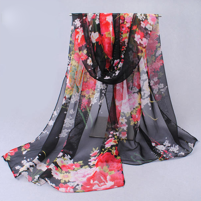 Spring 2019 New Nice   Scarves   &   Wraps   Vntage Blue Chiffon Silk a   Scarf   flowers Fashion Cotton For Woman drop shipping XQ041